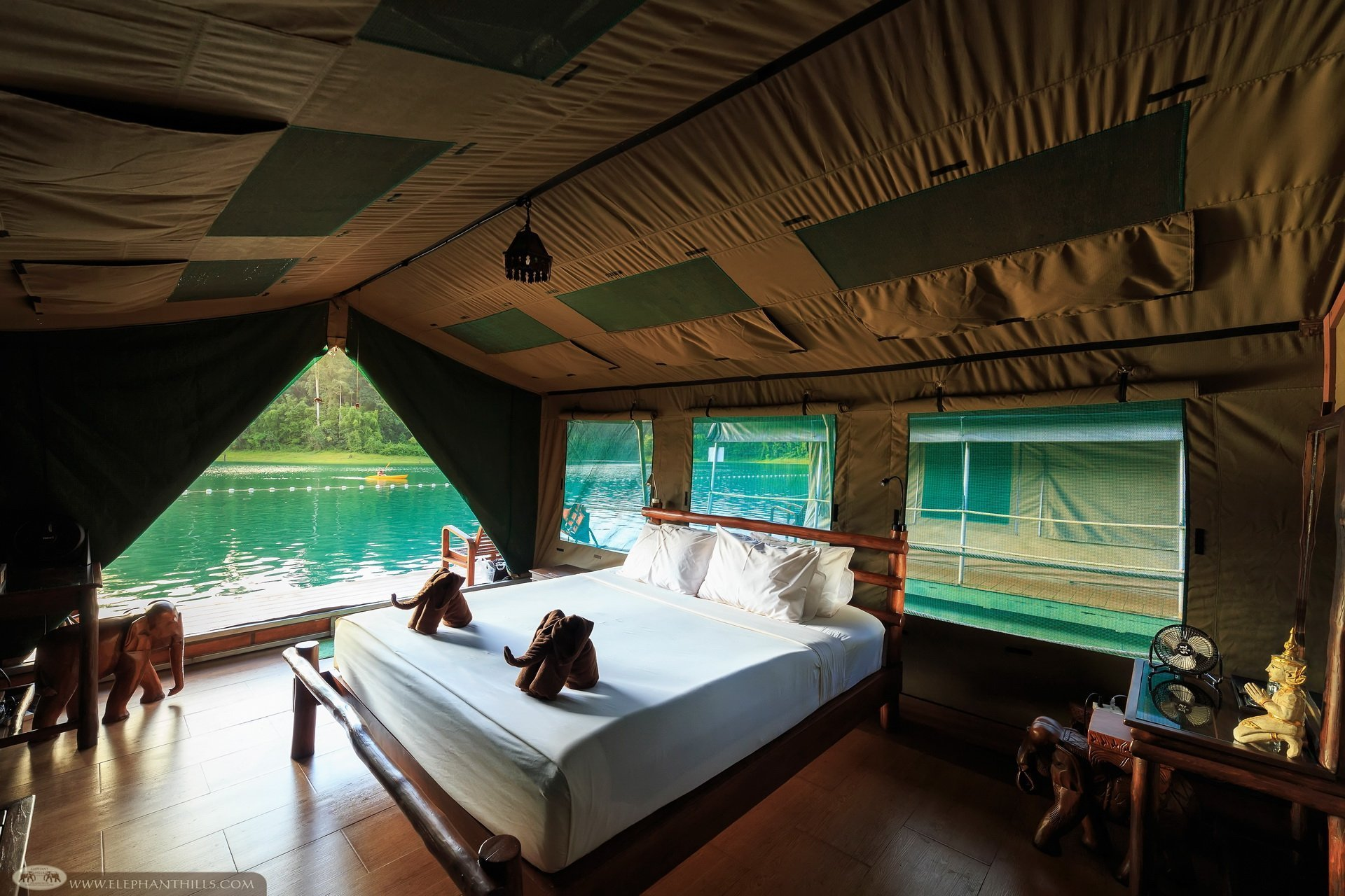 Unique accommodation in Khao Sok - private room with ensuite overlooking Cheow Larn Lake - Rainforest Camp, Khao Sok