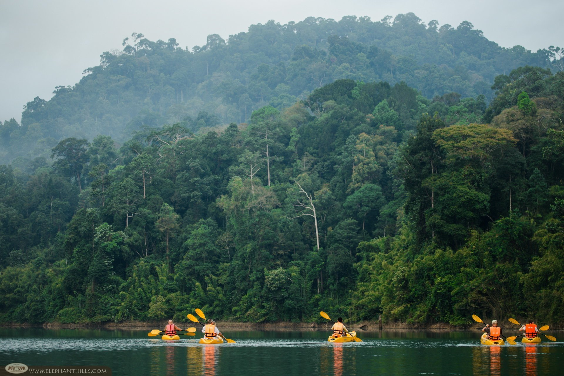 Guests kayak over Cheow Larn Lake at Rainforest Camp, floating bungalow accommodation in Khao Sok